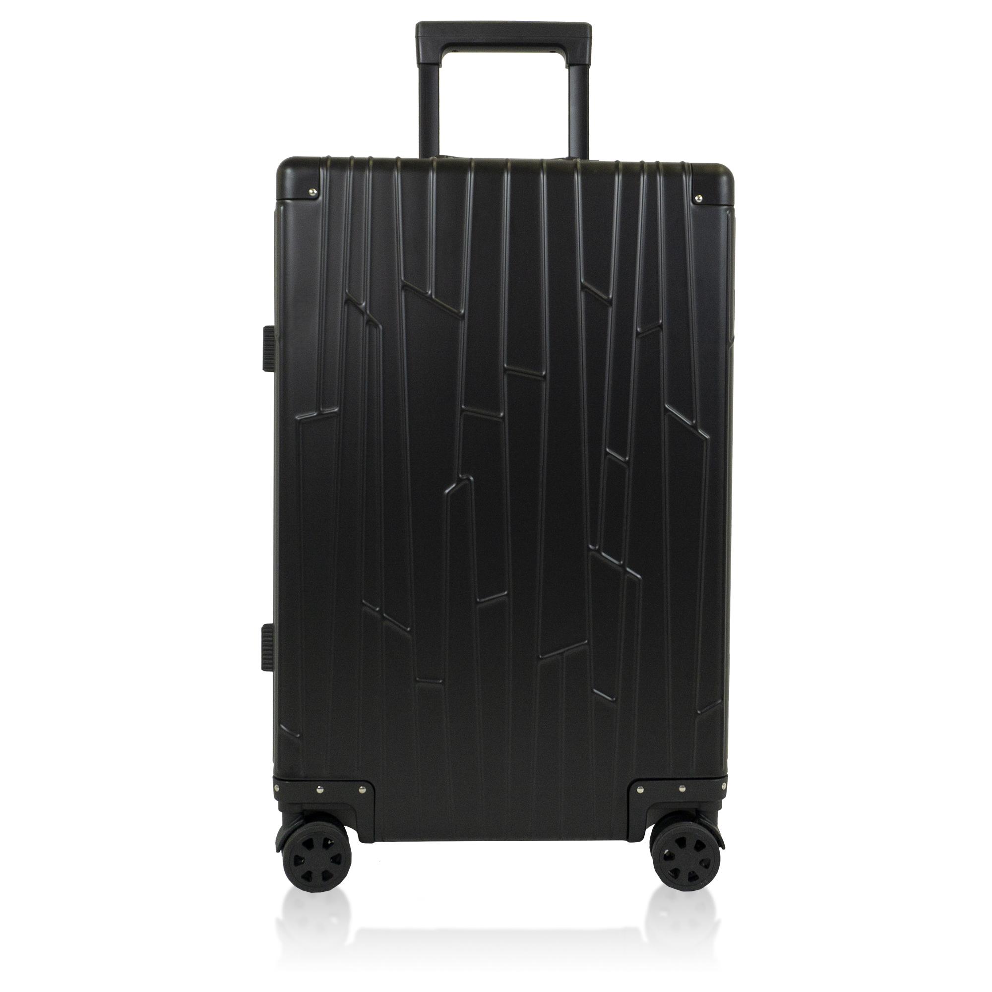 black aluminium suitcase gundel check in sized luggage tsa-locks