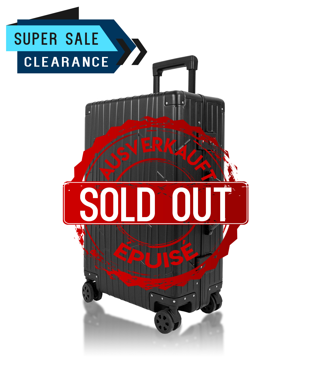 Check-in KOM-001W schwarz aluminium suitcase gundel checked luggage tsa-locks bware sale