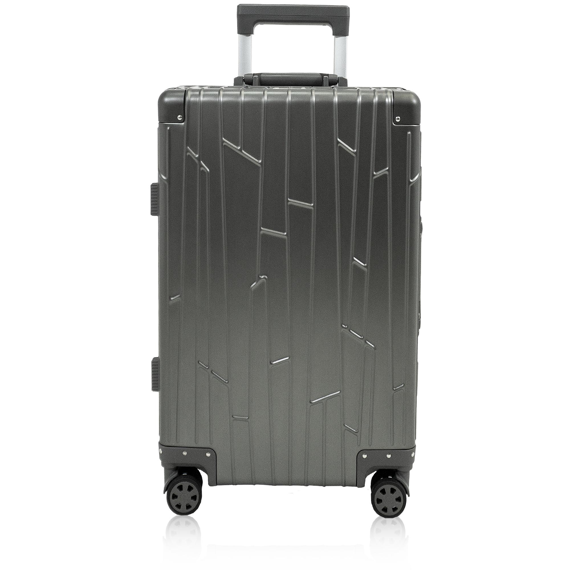 silver aluminium suitcase gundel carry on cabin sized luggage tsa-locks