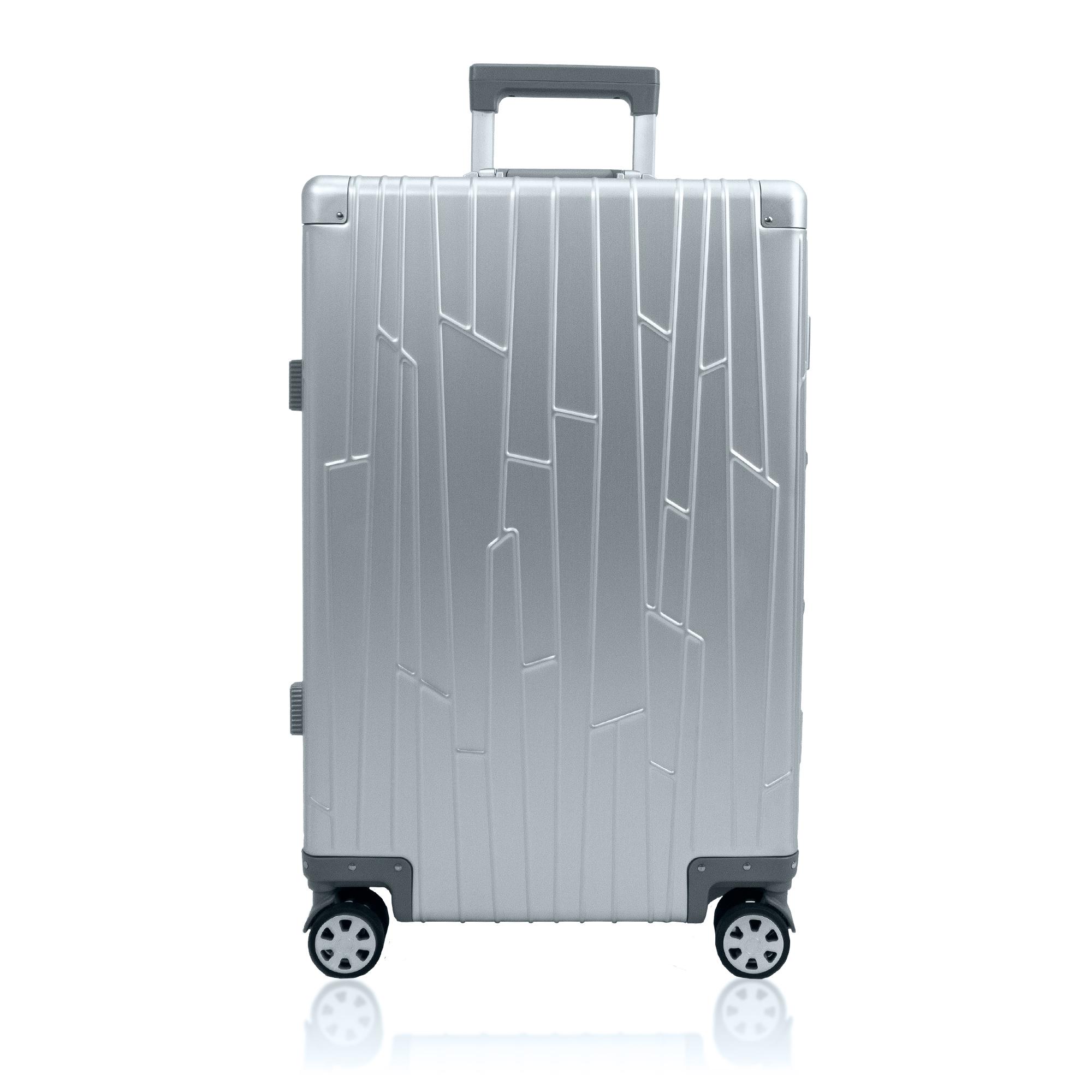 silver aluminium suitcase gundel check in sized luggage tsa-locks